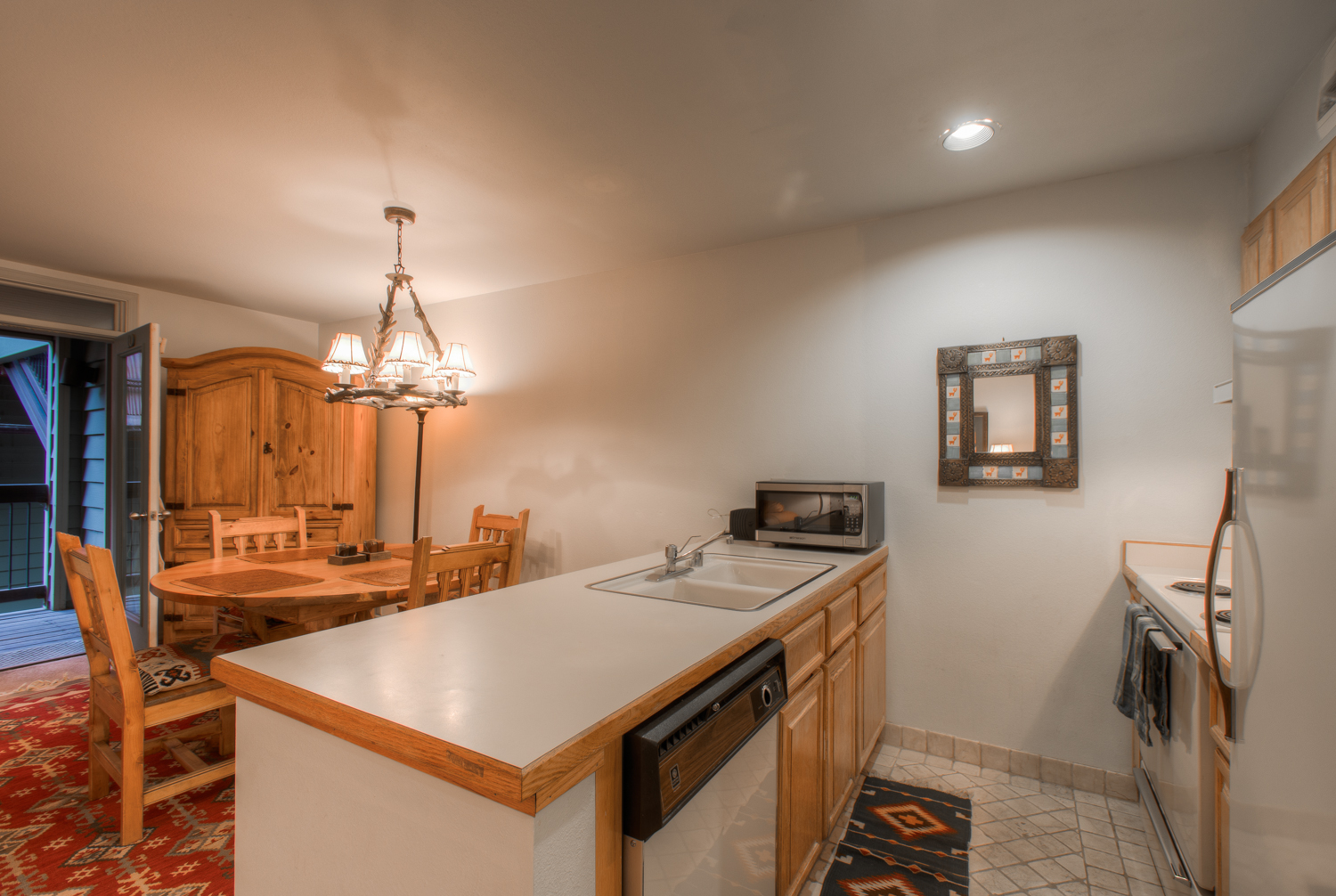 Kitchen with Refrigerator, Dishwasher, and Microwave