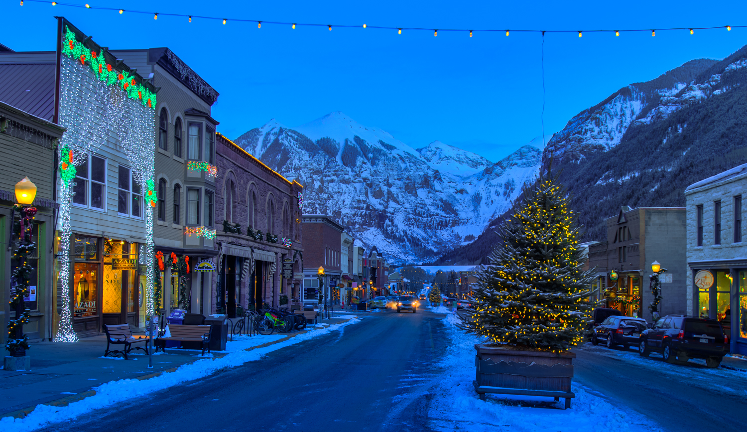 View of Main Street in Telluride with Christmas Lights