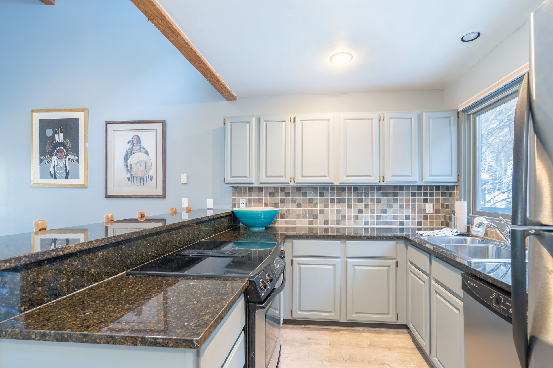 The kitchen with an oven and counters