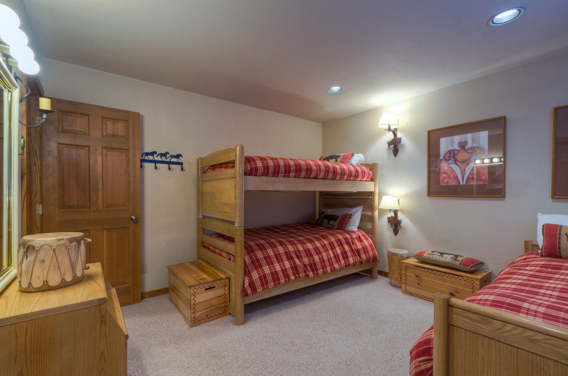 Bunk beds and a single bed