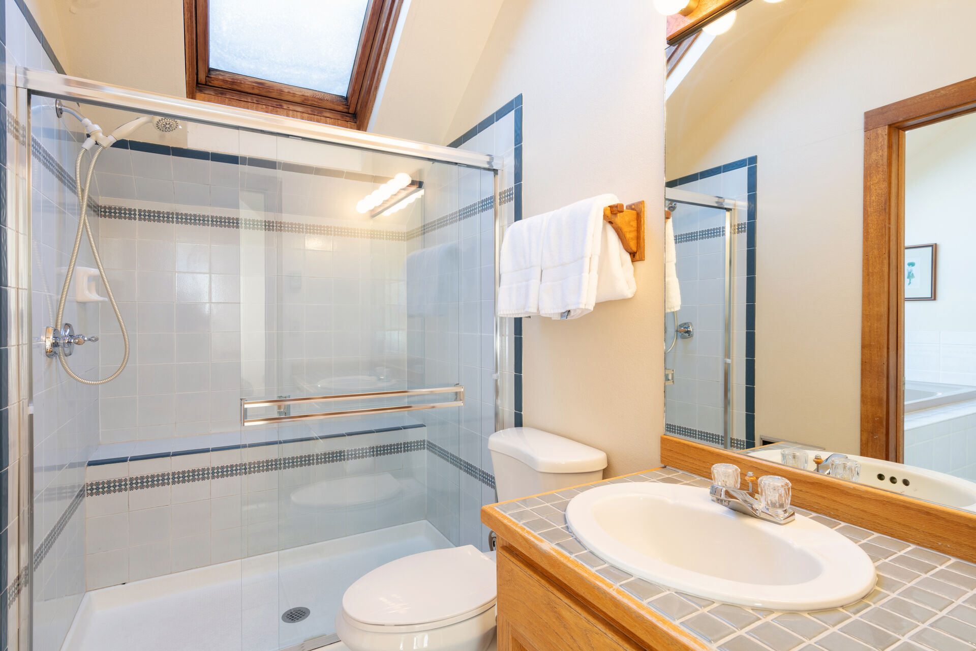 Spacious Shower, toilet and sink