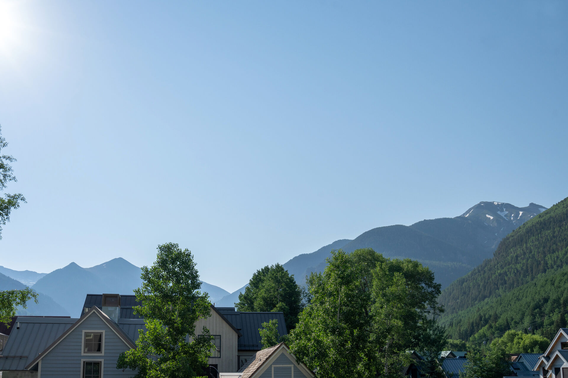 View of the mountain, trees and houses