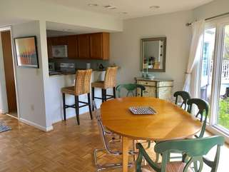 Enjoy the dining area table with seating for 6.  Counter seating in the kitchen for two.