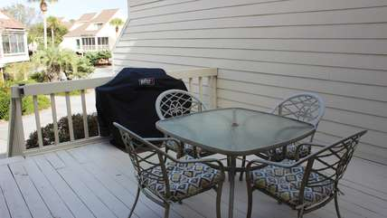 If you'd prefer dining outside, there is a table and a gas grill.