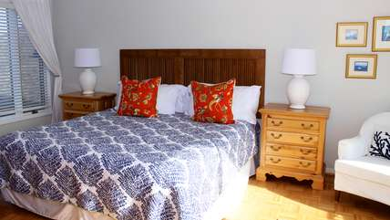 The master bedroom is on the 2nd floor and has a king bed.