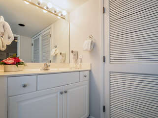 Master vanity is separate from the shower and toilet