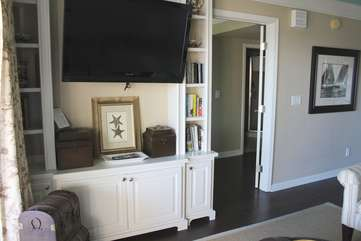 Gather and watch your favorite movies or shows on the large HDTV.