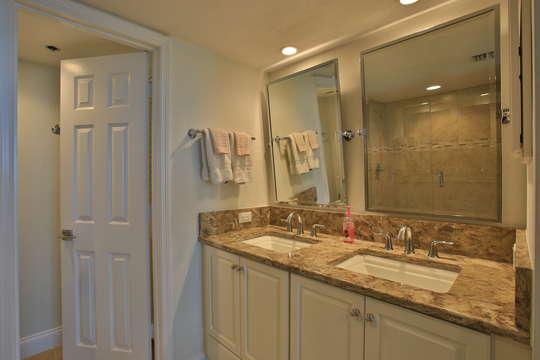 Master bathroom double sinks