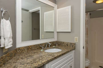 The master bath has a large vanity area.