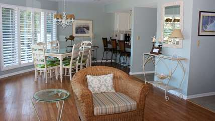 The dining area is nearby and open to the kitchen.