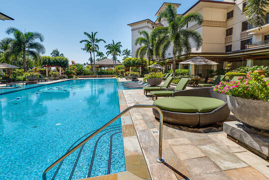 Heated Lap Pool located near hits Ko Olina beach villa for rent.