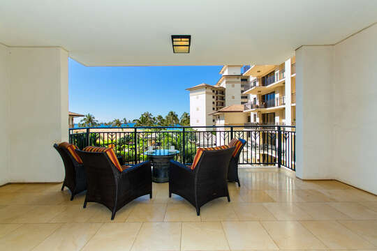 A Spacious Lanai with Ocean View at our Oahu Vacation Rental