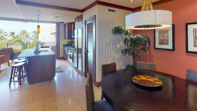 Dining and Kitchen Area in our Oahu Vacation Rental