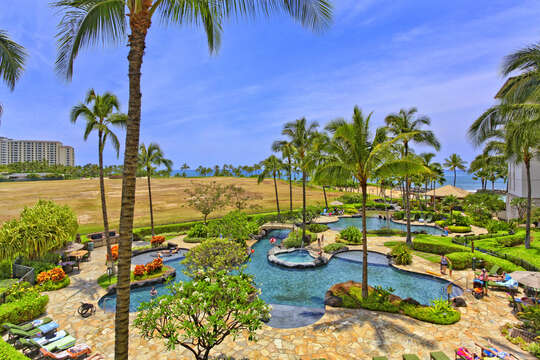 A Shot of the Lagoon Pool and it's colorful island landscaping.