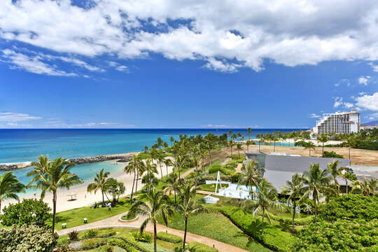 Expansive Ocean Views toward the Waianae Mountain Range next to this Ko Olina beach villa in Hawaii.