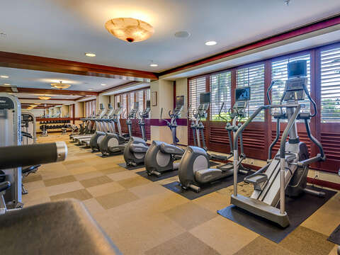 Fully Equipped Gym near this Ko Olina beach villa in Hawaii with Locker Rooms and Saunas.