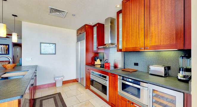 A photo of the Villa's Fully Equipped, Roy Yamaguci Designed Kitchen