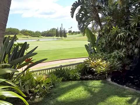 Landscaped Backyard Overlooking the Golf Course.