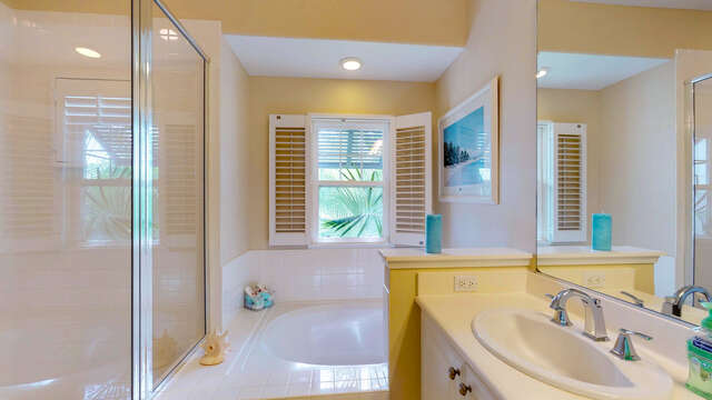 Master Bath has a Large Soaking Tub and a Walk-in Shower.