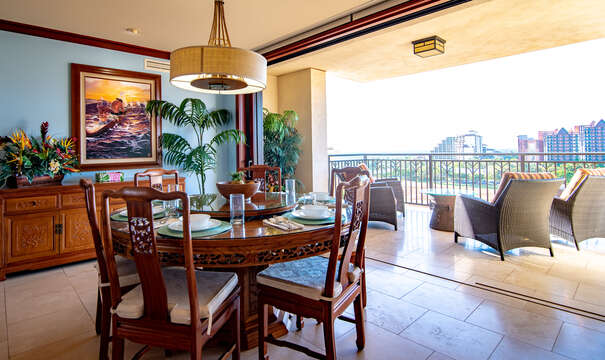 Dining Table, Chairs, Drawer Sideboard, Ceiling Lamp, Balcony, and Outdoor Seats.