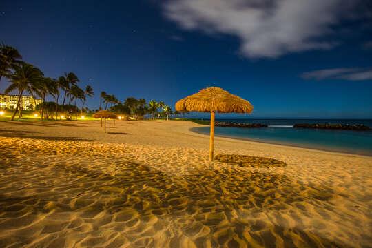 Sand and Beach Cabanas in the Ko Olina Lagoon.