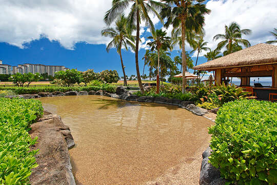 Sand Bottom Pool Outside our Beach Villa at Ko Olina