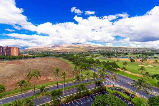 Golf Course and Mountain View from our Ko Olina Villa Rental.