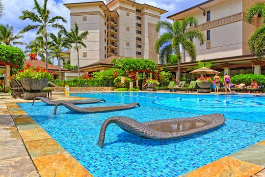 Lounge by the Pool outside the Beach Vilals at Ko Olina