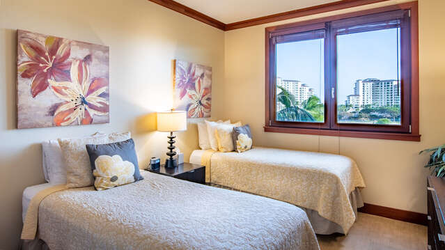 Second Bedroom with Twin Beds with Skyline Views in our Ko Olina Beach Villa