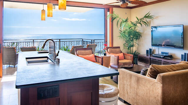 Ocean View from your Beach Villa at Ko Olina's Kitchen