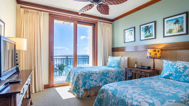The Second Bedroom also has an Ocean View & Access to the Lanai in our Ko Olina Condo Rental