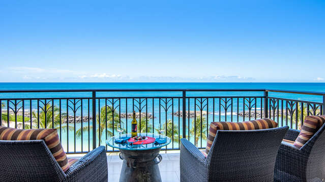 Direct Oceanfront Lanai. You have a Direct Ocean View from Both Bedrooms of your Ko Olina Beach Villa