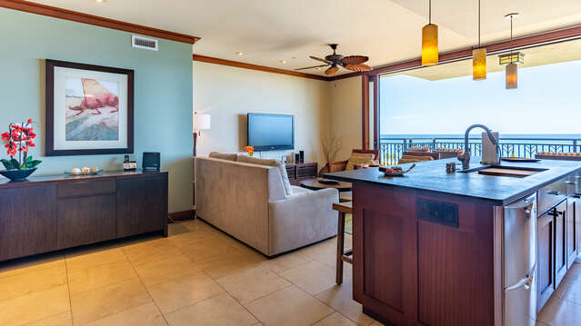 Our Ko Olina Beach Villa Living Area with a View of the Ocean
