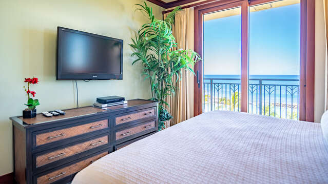 Master Bedroom with Flat Screen TV, King Sized Bed, and Lanai Access