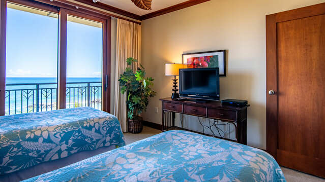 Second Bedroom with 2 Twin Beds and a Flat Screen TV in our Ko Olina Beach Villa