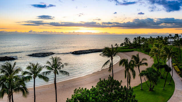 Sunset from the Lanai Outside our Ko Olina Beach Villa