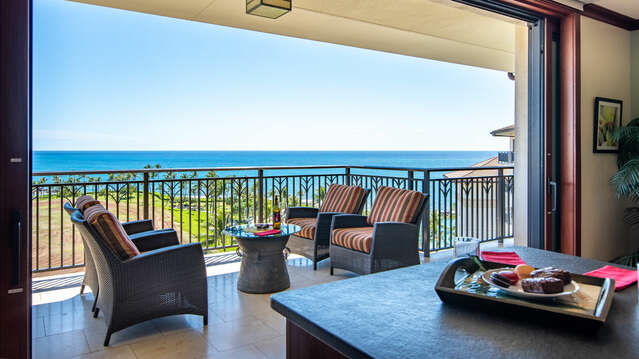 View of the Ocean and Lenai from Kitchen inside our Ko Olina Beach rental