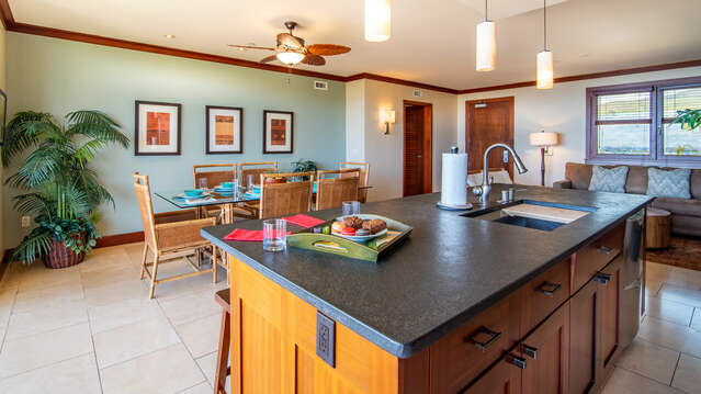 Dining Area as Seen from the Kitchen inside this Ko Olina Beach Rental