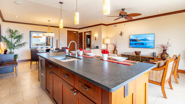 Kitchen Island and Family Room inside our Beach Villa at Ko Olina