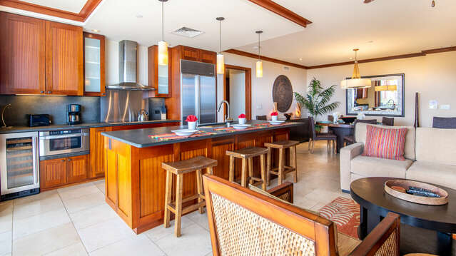 Kitchen with Upgraded Furnishings inside our Beach Villa at Ko Olina