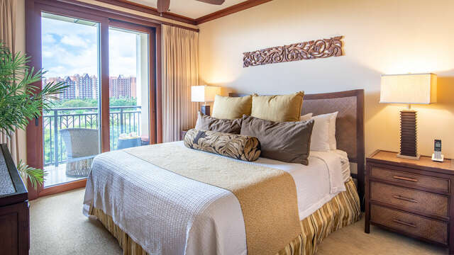 Master Bedroom has a King Bed and Direct Access to the Lanai inside our Beach Villa at Ko Olina
