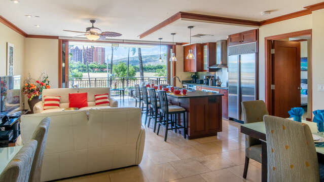 View of Family Room, Dining Area, and Kitchen in our Ko Olina Villa