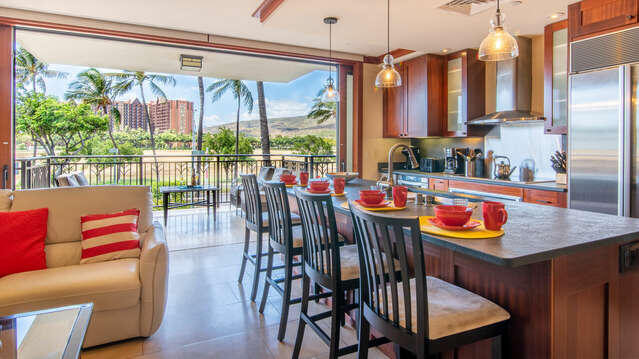 Kitchen with Updated Furnishings and Gorgeous View in our Ko Olina Villa