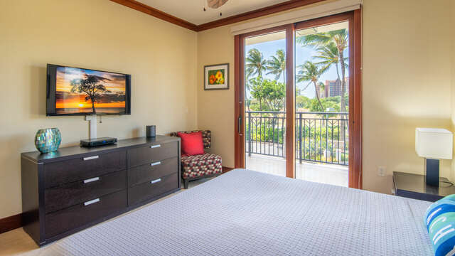 Master Bedroom with Lanai Access and Flat Screen TV