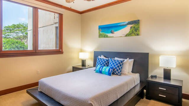 Second Bedroom with a Queen Size Platform Bed with a Tempurpedic Mattress in our Beach Villas OT-210