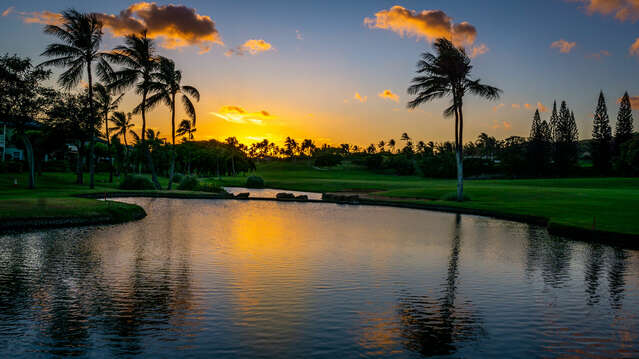 Sunset at the Water Feature on Ko Olina's 13th Fairway