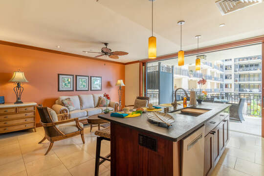 Living Area and Kitchen with Lanai Access in our Ko Olina Resort Vacation Rental