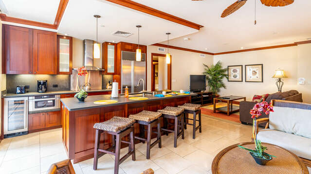 Furnished Kitchen and Living Area in our Ko Olina Resort Vacation Rental