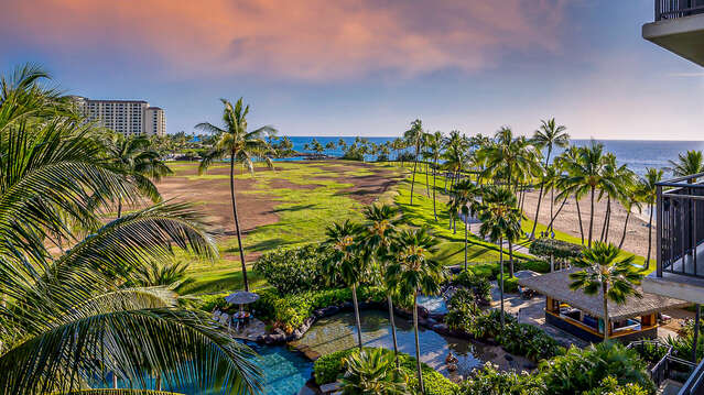 Large Lanai overlooking the pool outside our Oahu Ko Olina Beach Villa, with a dashing look of the Pacific blue