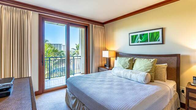 Master Bedroom with Access to the Lanai inside our Oahu Ko Olina Beach VIlla